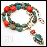 turquoise coral biwa pearl silver pendant beaded necklace