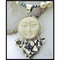 silver moon sterling silver carved bone pearl necklace