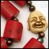 genuine red coral happy buddha necklace