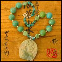 hindu goddess turquoise carved necklace