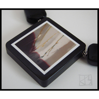 southern lights scenic intarsia pendant onyx necklace
