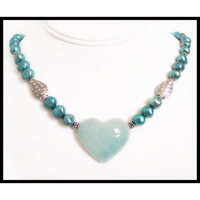 aquamarine carved heart blue pearl beaded necklace
