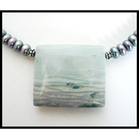 soft pastel ocean view polychromatic jasper pendant peacock pearl necklace