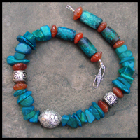 parrot wing & turquoise tibet silver necklace