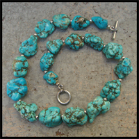big bead dragon skin turquoise necklace