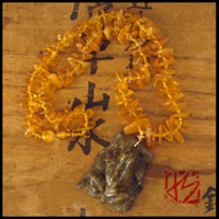 carved frog & fossil amber beaded necklace
