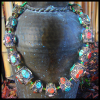 large ethnic turquoise coral silver neckpiece