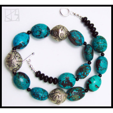 BIG BEAD DRAGONSKIN TURQUOISE NECKLACE WITH TIBETAN BEADS