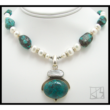 TURQUOISE SKY DRAGON SKIN BIWA PEARL SILVER PENDANT BEADED NECKLACE