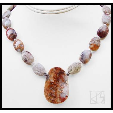 RARE VINTAGE STOCK ROSETTA AGATE PENDANT BEADS NECKLACE