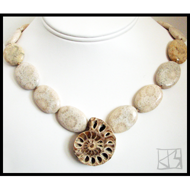 ANCIENT OCEANS TRANQUIL AMMONITE AND FOSSIL CORAL NECKLACE