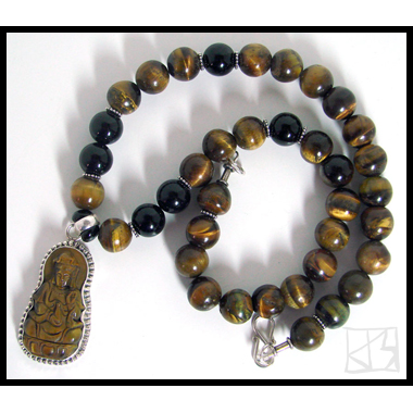 SHINING EARTH GODDESS TIGER EYE KWAN QUAN YIN STERLING PENDANT BEADED NECKLACE
