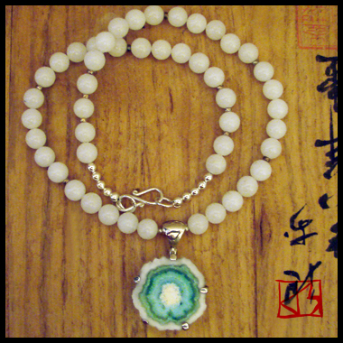 RARE AQUAMARINE IN QUARTZ WHITE JADE NECKLACE